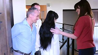 video titel: New foster dauther gets a welcome family groupsex || porn tgas: babe,brunette,family,group,