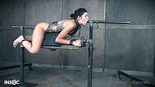 video titel: Bondage bitch Eden Sin gets her muff and anus punished in the dark room || porn tgas: anal,anus,ass,bdsm,anysex