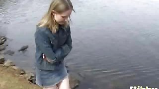 video titel: Cute blonde teen girl in mini jeans skirt Kitty Kim posing || porn tgas: amateur,blonde,cute,outdoor,