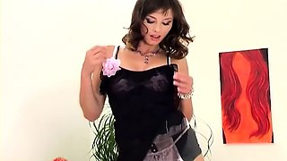 video titel: Glamour babe in stockings and sexy strappy heels || porn tgas: babe,brunette,glamour,heels,drtuber