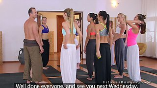 video titel: Yoga coach bangs two blonde students after class || porn tgas: banged,blonde,couch,students,gotporn