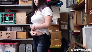 video titel: Security guard finally talked Raven Reign into riding his cock || porn tgas: brunette,cock,couple,office,bravotube