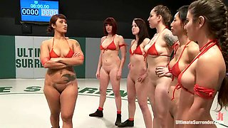 video titel: A few nude chicks have a wrestling match on tatami || porn tgas: big tits,brunette,chick,natural,bravotube