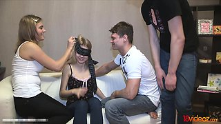 video titel: These teen start with an innocent game where a blindfolded || porn tgas: blindfolded,blonde,brunette,european,nuvid