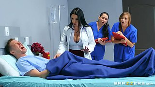 video titel: busty doc cures the patient of his erection || porn tgas: 4some,big cock,big tits,busty,flyflv