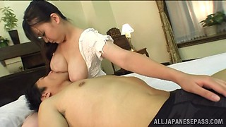 video titel: Sucking on her luscious breasts and nipples while getting a handjob || porn tgas: asian,big tits,blowjob,breasts,bravotube