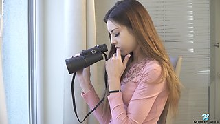 video titel: Beautiful teen Akira May is spying on couple living nextdoor and masturbating pussy || porn tgas: babe,beautiful,brunette,couple,anysex