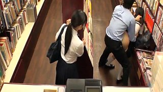 video titel: Schoolgirl Sluts Banged In Book Store || porn tgas: 4some,asian,banged,blowjob,flyflv