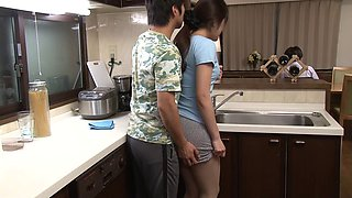 video titel: Asian MILF has her skirt lifted and pussy fucked in the kitchen || porn tgas: asian,blowjob,couple,fingering,anyporn