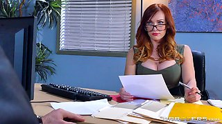video titel: Redhead knows how to satisfy her boss by using her pussy || porn tgas: big tits,boss,couple,glasses,bravotube