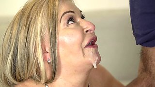 video titel: Chubby grandma makes his young dick cum in her mouth || porn tgas: chubby,cum,dick,grandma,sexvid