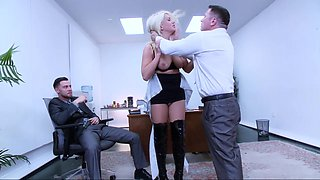 video titel: Sexy secretary discovers her pussy can swallow two || porn tgas: 3some,abuse,american,big tits,beeg