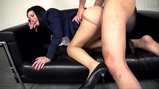 video titel: Sexy Asian Secretary in Pantyhose and High Heels Molested || porn tgas: asian,babe,cumshots,doggy,