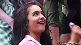 video titel: Cockhungry CFNM babes give handjob outdoors    porn tgas: babe,cfnm,european,femdom,gotporn