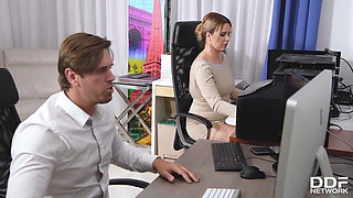 video titel: Busty office colleague Nikky Dream gives stud blowjob at wor || porn tgas: big tits,blowjob,busty,dreams,xhamster